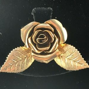 Vintage small golden rose brooch